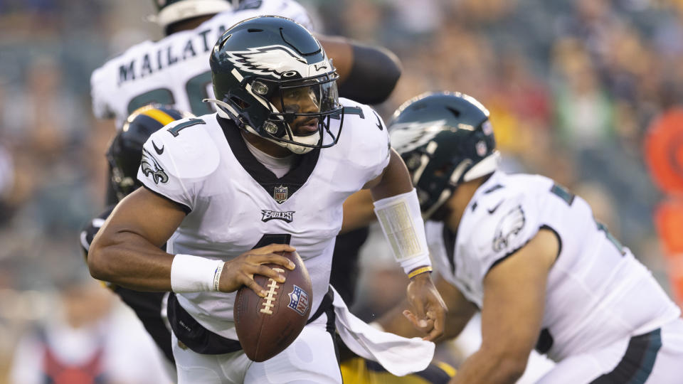 Jalen Hurts of the Philadelphia Eagles looks to pass the ball against the Pittsburgh Steelers during a preseason game on Aug. 12. (Mitchell Leff/Getty Images)