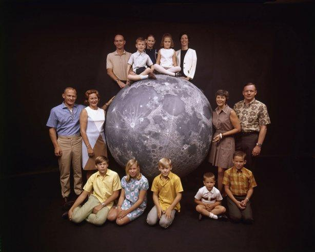 Not originally published in LIFE. The Apollo 11 astronauts and their families pose with a scale model of the moon, spring 1969.(Ralph Morse—Time & Life Pictures/Getty Images)   Click here to see the full collection at LIFE.com