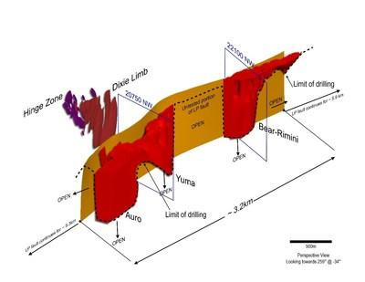 Figure 2: Current 3D model of mineralization drilled to-date along the LP Fault, modeled to the maximum current drill depth of approximately 480 vertical metres. The adjacent Hinge and Dixie Limb Zones are also shown. (CNW Group/Great Bear Resources Ltd.)