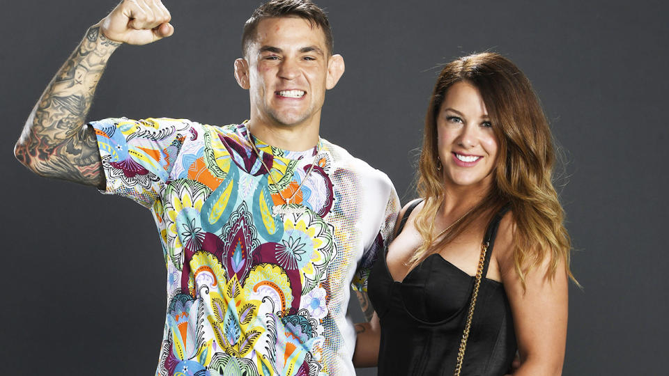 Dustin Poirier and wife Jolie, pictured here after his victory over Conor McGregor at UFC 257.
