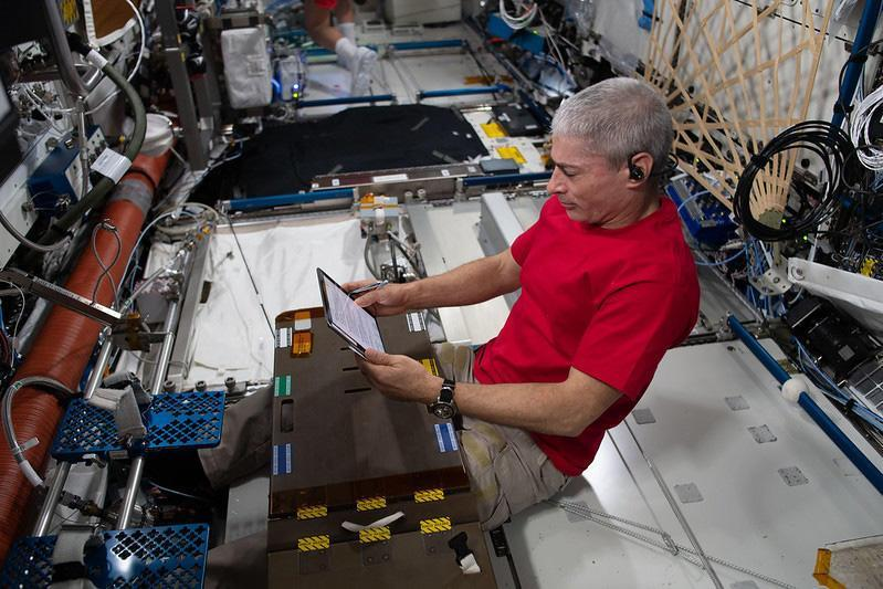 Astronaut Mark Vande Hei, aboard the International Space Station. He now expects to spend nearly a year aboard the lab complex.  / Credit: NASA