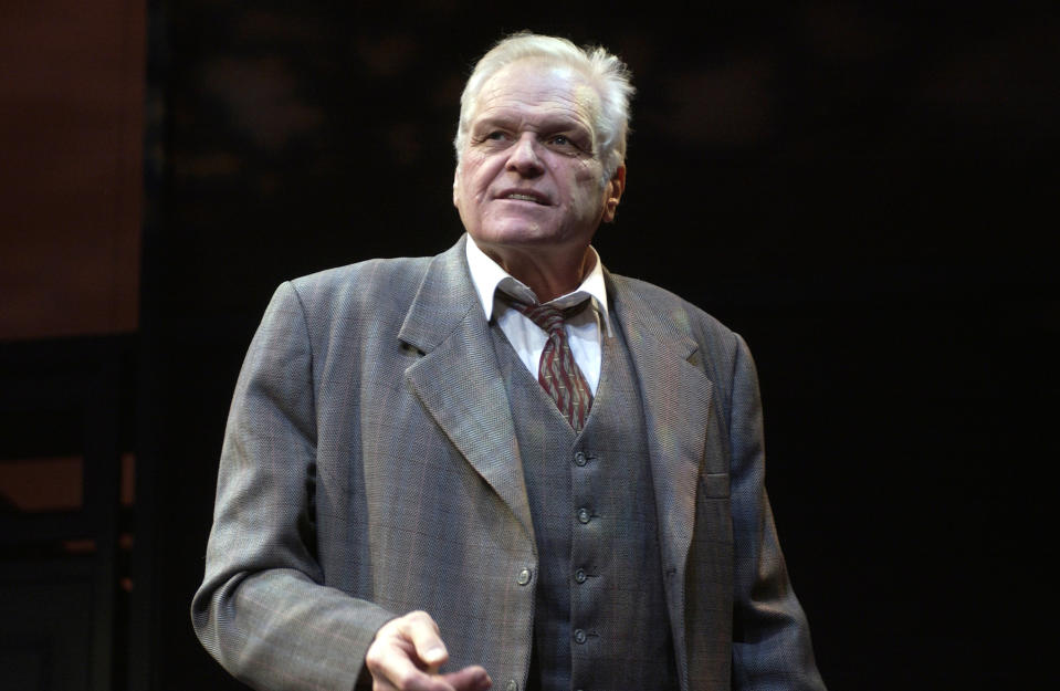 Brian Dennehy (as Willy Loman) in the production Death of a Salesman at the Lyric Theater in London. Written by Arthur Miller. (Photo by robbie jack/Corbis via Getty Images)