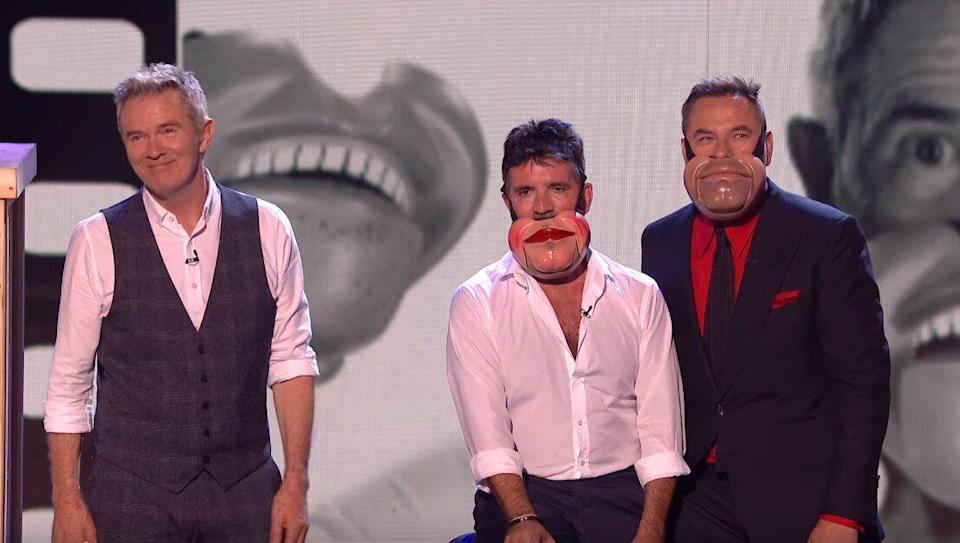 Simon Cowell didn't look too pleased about joining in with Jimmy Tamley's ventriloquism act during last night's semi-final (ITV)