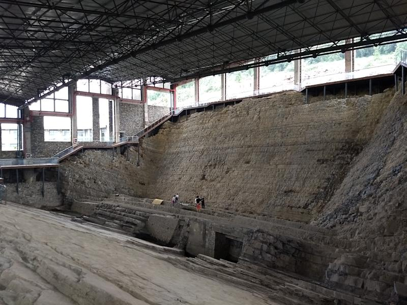 The quarry where the ichthyosaur was uncovered, now part of the Xingyi Geopark Museum