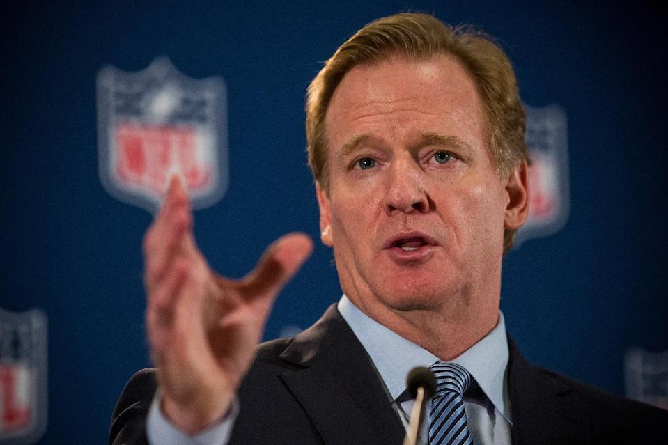NFL Commissioner Roger Goodell, pictured during a press conference in New York, on October 8, 2014 (AFP Photo/Andrew Burton)