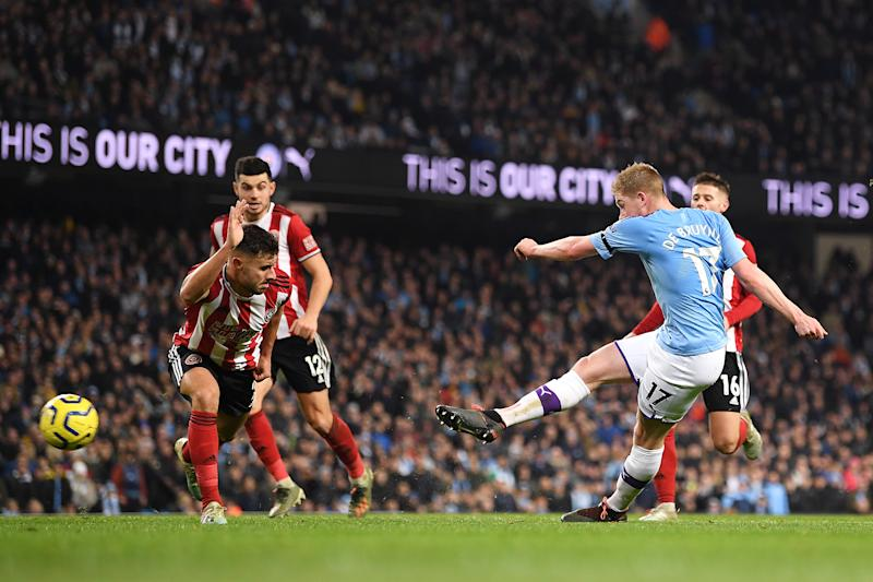 MANCHESTER, ENGLAND - DECEMBER 29: Kevin De Bruyne of Manchester City scores his sides second goal during the Premier League match between Manchester City and Sheffield United at Etihad Stadium on December 29, 2019 in Manchester, United Kingdom. (Photo by Michael Regan/Getty Images)
