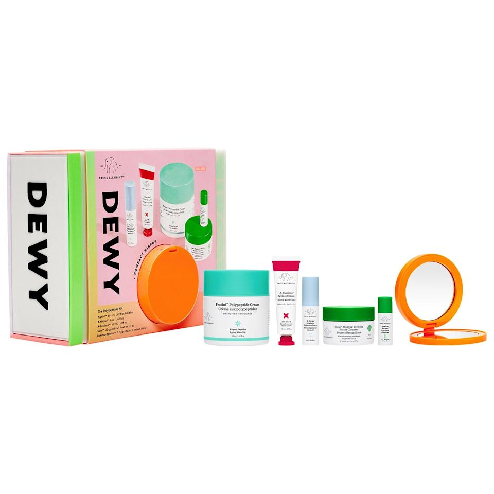 "<h3>Drunk Elephant Dewy: The Polypeptide Kit<br></h3><br>Getting Drunk Elephant at a discount is about as rare as spotting a unicorn in the wild. If you're feeling down in the dumps, this feel-happy skin-care set is sure to fix that — or at the very least, keep your skin well hydrated.<br><br><strong>Drunk Elephant</strong> Dewy: The Polypeptide Kit, $, available at <a href=""https://go.skimresources.com/?id=30283X879131&url=https%3A%2F%2Ffave.co%2F3dJOnJb"" rel=""nofollow noopener"" target=""_blank"" data-ylk=""slk:Sephora"" class=""link rapid-noclick-resp"">Sephora</a>"