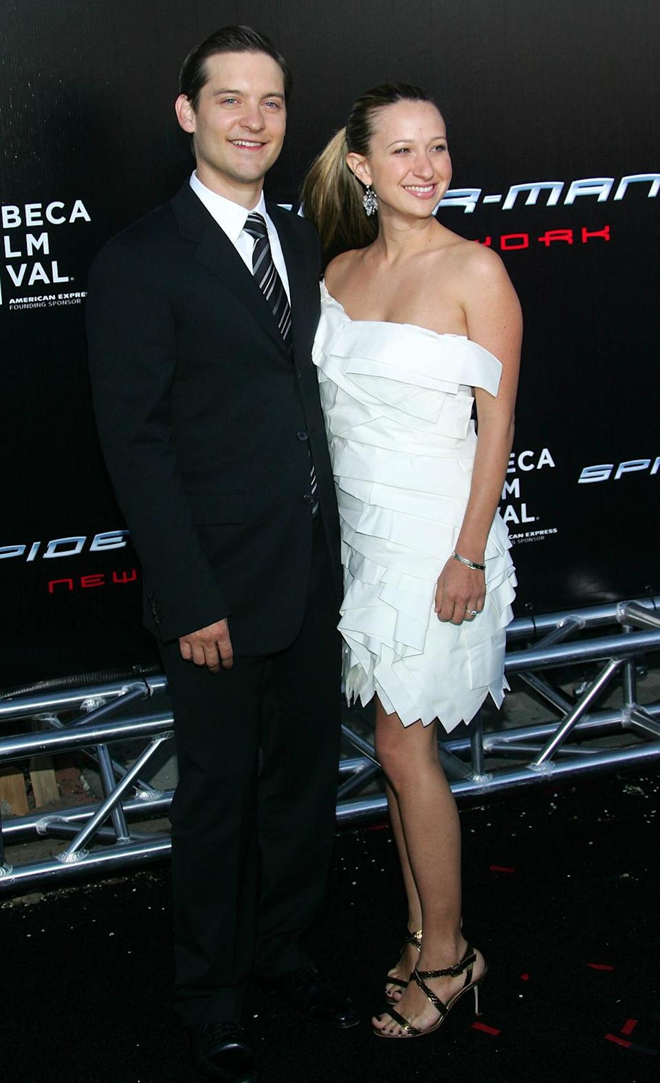 <p>Maguire brought future-wife Jennifer Meyer to the New York premiere of <em>Spider-Man 3</em> on April 30, 2007. It would be the actor's final go-round as the web-slinger. (Photo: Evan Agostini/Getty Images) </p>