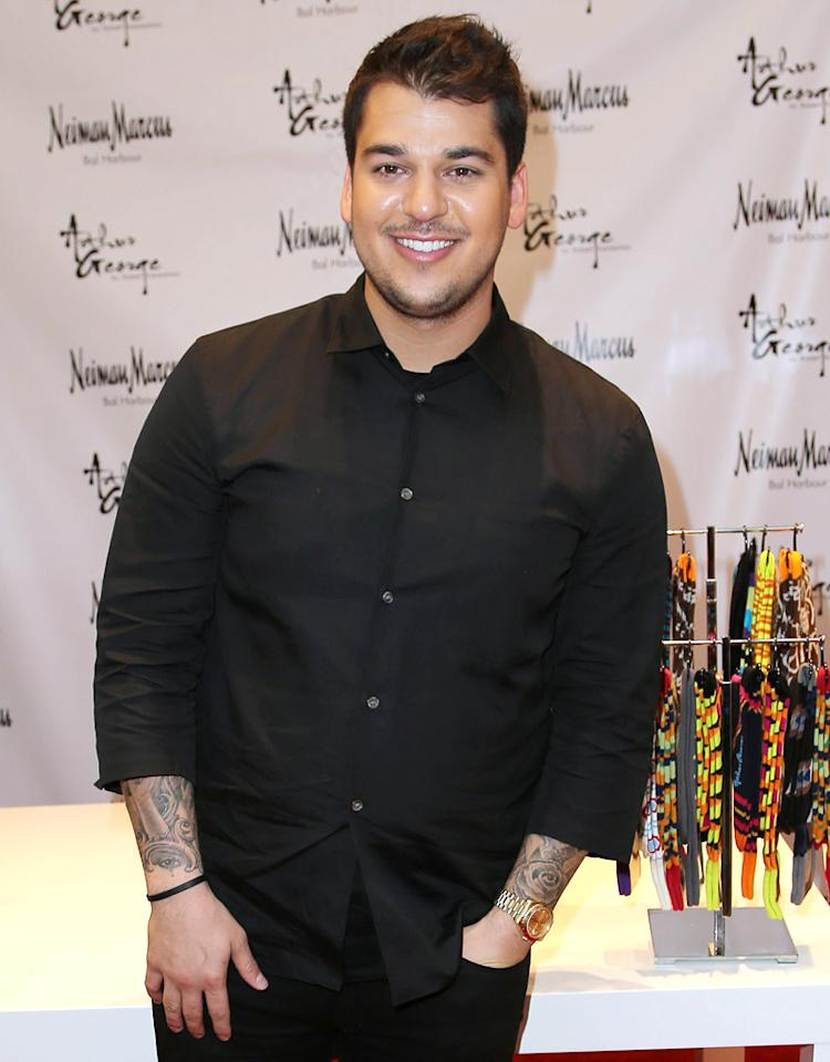 MIAMI BEACH, FL - DECEMBER 10: Rob Kardashian presents his Arthur George Socks Collection at Neiman Marcus Bal Harbour at Neiman Marcus on December 10, 2012 in Miami Beach, Florida. (Photo by Alexander Tamargo/Getty Images)