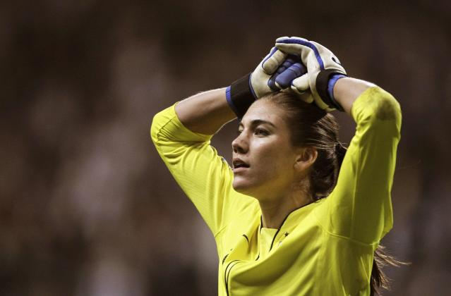 U.S. goalkeeper Hope Solo reacts after being defeated in a penalty shootout against Japan during their Women's World Cup final soccer match in Frankfurt in this file photo from July 17, 2011. Solo was arrested June 20, 2014 for allegedly striking her sister and her nephew during a dispute at her home in a Seattle suburb, police told the Seattle Times. REUTERS/Alex Domanski/Files (GERMANY - Tags: SPORT SOCCER WORLD CUP CRIME LAW)