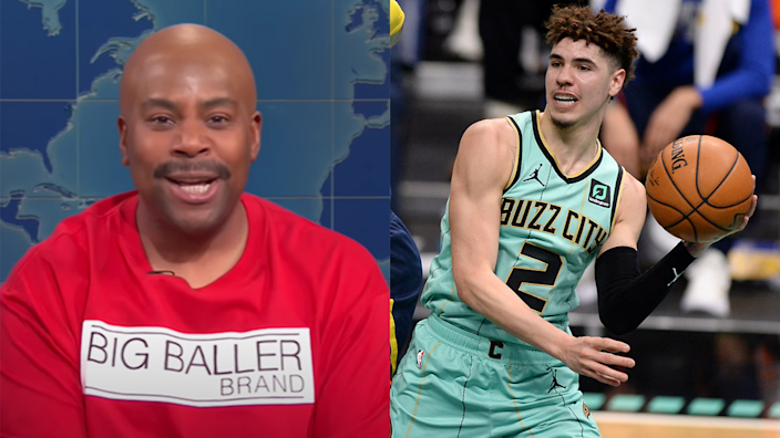 Kenan Thompson as LaVar Ball, left, said on Saturday Night Live that LaMelo Ball, right, has NBA Rookie of the Year and MVP locked up. He also gave Charlotte a couple of new nicknames.