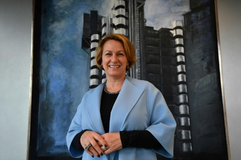 Lloyds of London Chief Executive Officer, Inga Beale poses for a photograph in her office in the City of London on March 30, 2017, following an interview with AFP