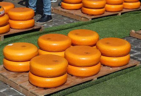 Gouda wheels are displayed at the cheese market in Gouda, Netherlands April 18, 2019. REUTERS/Yves Herman