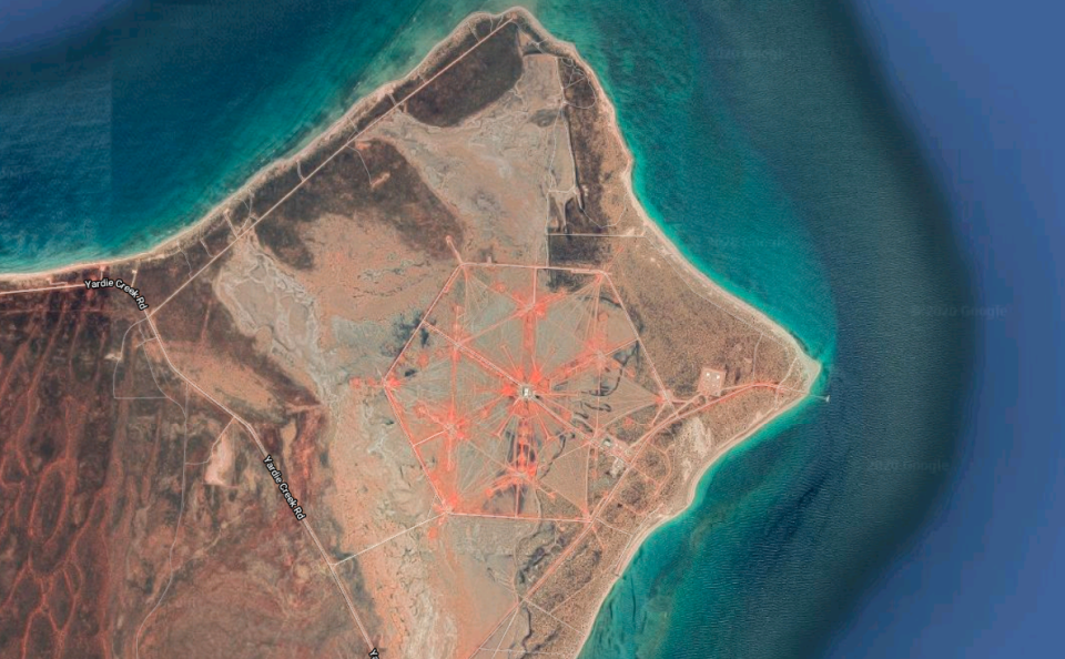 A satellite image shows an orange hexagon just above Exmouth on Western Australia's North West Cape.