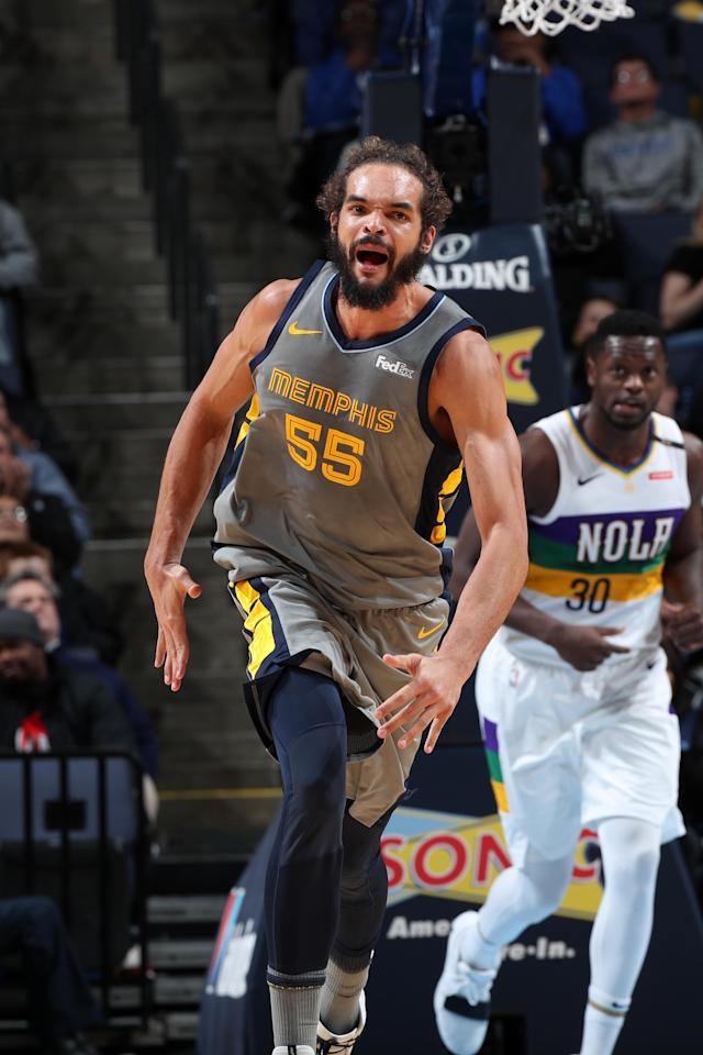 MEMPHIS, TN - FEBRUARY 9: Joakim Noah #55 of the Memphis Grizzlies reacts during a game against the New Orleans Pelicans on February 9, 2019 at FedExForum in Memphis, Tennessee. (Photo by Joe Murphy/NBAE via Getty Images)