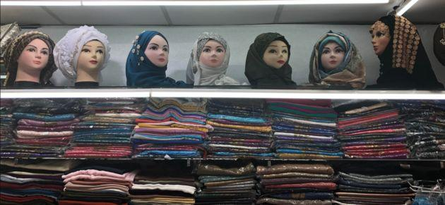 Headscarves and hijabs at The Hijab Centre in Blackburn