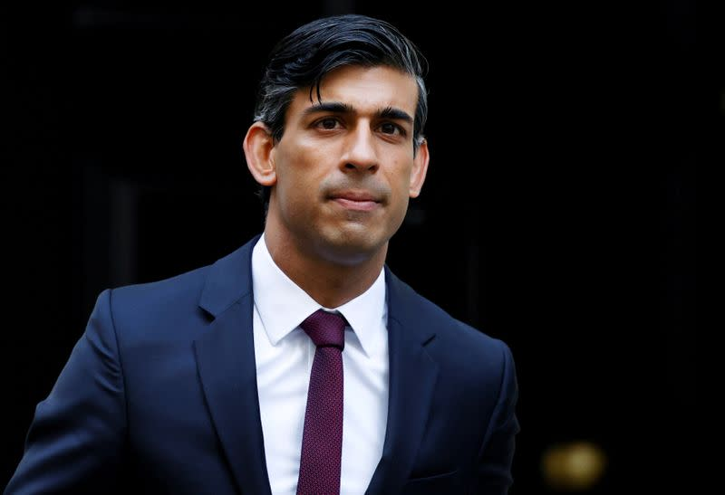 FILE PHOTO: Britain's Chancellor of the Exchequer Rishi Sunak is seen at Downing Street in London