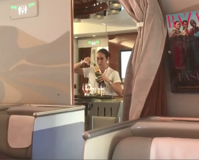 Luxury airline caught pouring Champagne back into bottle