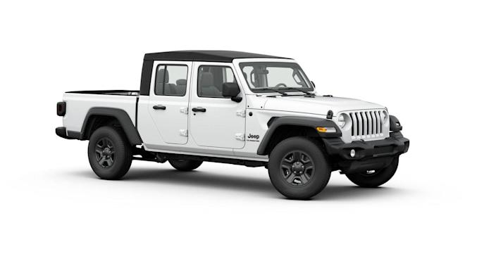 "<p><strong>Configuration: </strong>Sport trim level, 4x4<br><br>The <a href=""https://www.caranddriver.com/jeep/gladiator"" rel=""nofollow noopener"" target=""_blank"" data-ylk=""slk:Jeep Gladiator"" class=""link rapid-noclick-resp"">Jeep Gladiator</a> is the Wrangler of trucks, literally. Based on Jeep's iconic off-road SUV, this four-door pickup has many of the same rock-crawling abilities and bears the important distinction of being the only convertible pickup you can buy. Though Jeep recently added a <a href=""https://www.caranddriver.com/reviews/a34055968/2021-jeep-gladiator-ecodiesel-drive/"" rel=""nofollow noopener"" target=""_blank"" data-ylk=""slk:diesel engine option"" class=""link rapid-noclick-resp"">diesel engine option</a>, the cheapest way to get a Gladiator is with the standard 3.6-liter gasoline V-6. The base model, called Sport, has a six-speed manual transmission.</p>"
