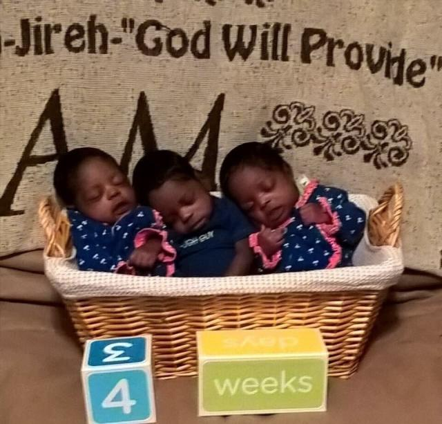 Triplets delivered healthy and on time despite a high-risk pregnancy, in which the mother developed fibroid cysts and had to go on bedrest.