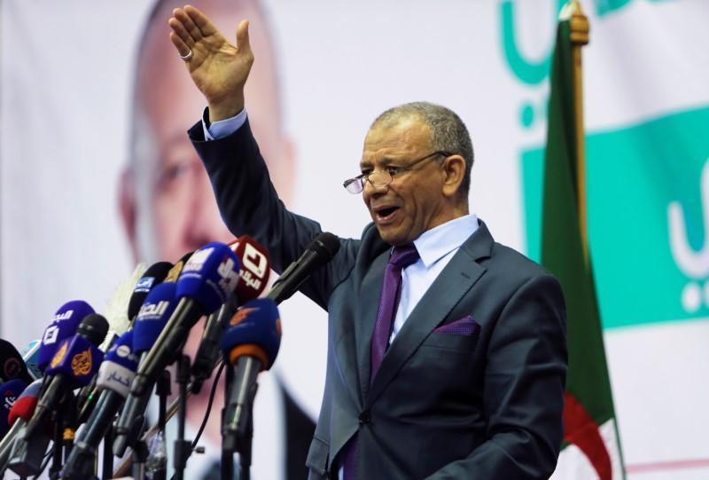 Abdelkader Bengrina, head of the Harakat al-Bina, addresses his supporters during a campaign rally in Algiers