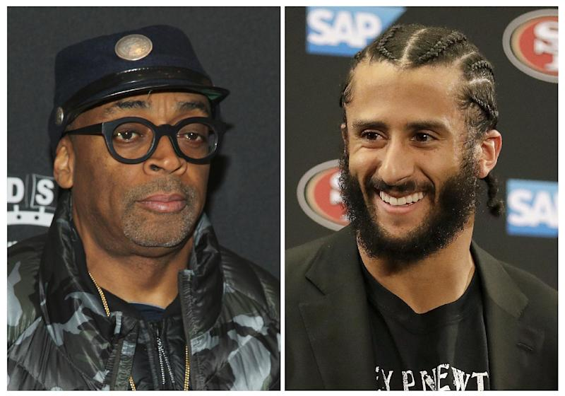 """FILE - In this combination photo, director Spike Lee, left, appears at the premiere of """"Touched With Fire"""" on Feb. 10, 2016, in New York and San Francisco 49ers quarterback Colin Kaepernick appears at a news conference  on  Jan. 1, 2017, after an NFL football game against the Seattle Seahawks in Santa Clara, Calif. Lee says it's """"fishy"""" that Kaepernick has remained an NFL free agent. On an Instagram post, Sunday, March 19, 2017, Lee questioned what crime Kaepernick has committed. He says the quarterback's lack of suitors """"smells mad fishy to me."""" Kaepernick's season-long protest of the """"Star Spangled Banner"""" ahead of 49ers games became a topic of national debate last season. (AP Photo/Files)"""