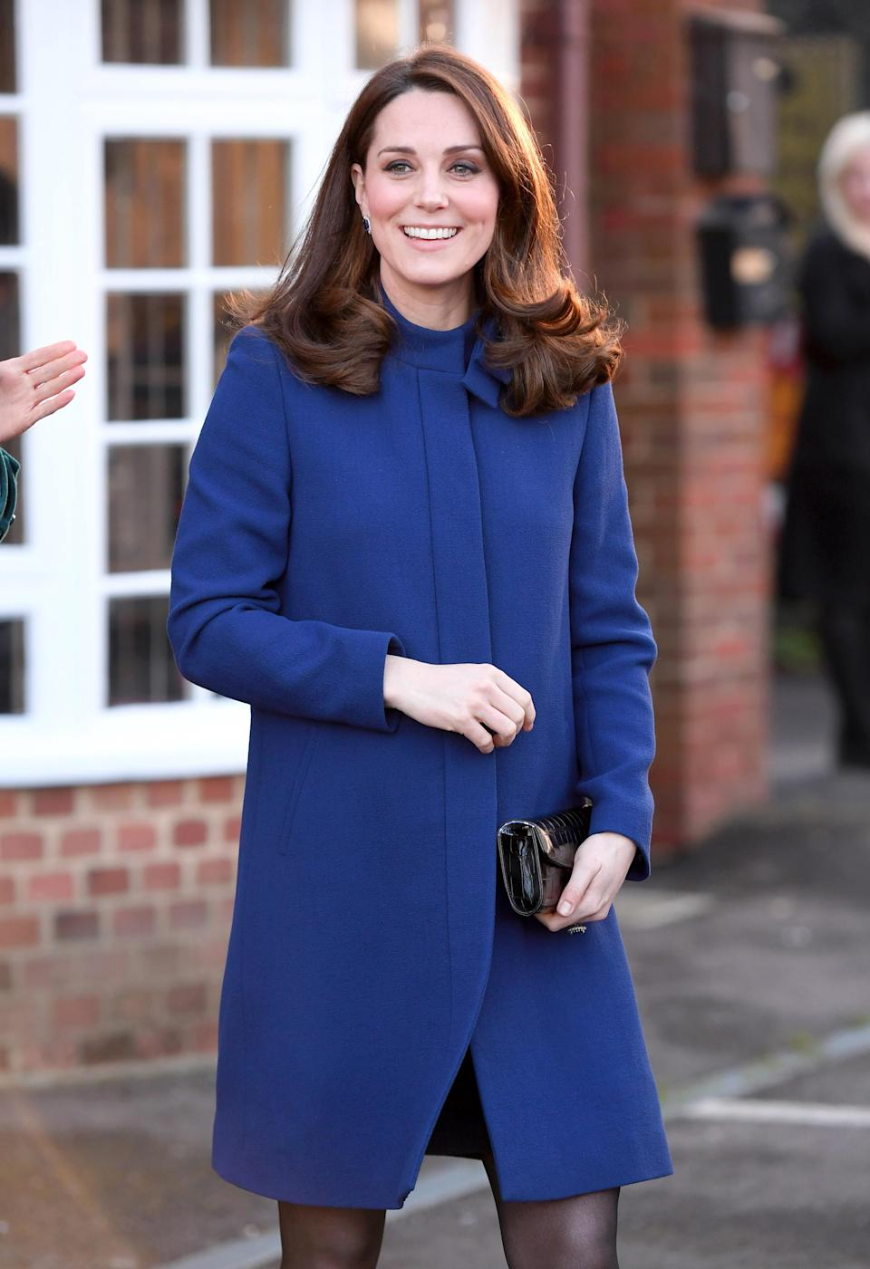 <p><strong>The occassion:</strong> Opening the Action On Addiction Community Treatment Centre in Wickford, Essex.<br><strong>The look:</strong> A royal blue coat by Goat, which she wore with sheer tights. <br>[Photo: Getty] </p>
