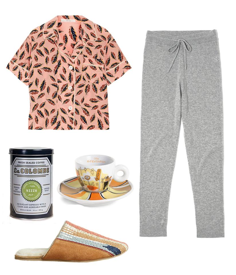 <p>If you love ending your dinners with a cup of coffee, dress your cashmere pants with a fun, soft, vibrantly printed pajama top like this from Araks. Better yet, try them out with these adorable espresso cups from Emilio Pucci's collaboration with Illy. </p>