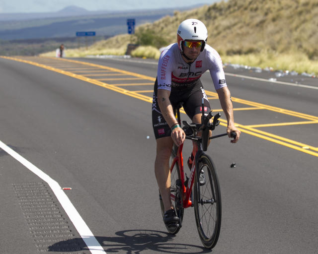 <p>Ronnie Schildknecht, of Switzerland, rides in the bicycle segment of the Ironman World Championship Triathlon, Saturday, Oct. 14, 2017, in Kailua-Kona, Hawaii. (AP Photo/Marco Garcia) </p>