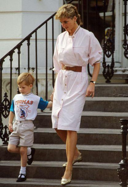 PHOTO: Prince Harry wears a Thomas the Tank Engine tee-shirt when he leaves nursery school with his mother, Diana, Princess of Wales circa June 1989 in London. (Anwar Hussein/WireImage/Getty Images, FILE)