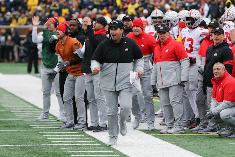 ANN ARBOR, MI - NOVEMBER 30: Ohio State Buckeyes head coach Ryan Day reacts to the action on the field during a regular season Big 10 Conference game between the Ohio State Buckeyes (2) and the Michigan Wolverines (10) on November 30, 2019 at Michigan Stadium in Ann Arbor, Michigan. (Photo by Scott W. Grau/Icon Sportswire via Getty Images)