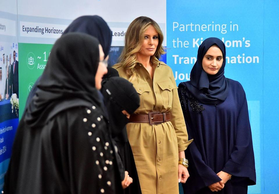 <p>The is the first time Melania Trump wore *that* Ralph Lauren Collection shirtdress abroad (more on that later). Aside from her outfit choice, Trump was criticized for the great mood she was *clearly* in while visiting Saudi Arabia. </p>