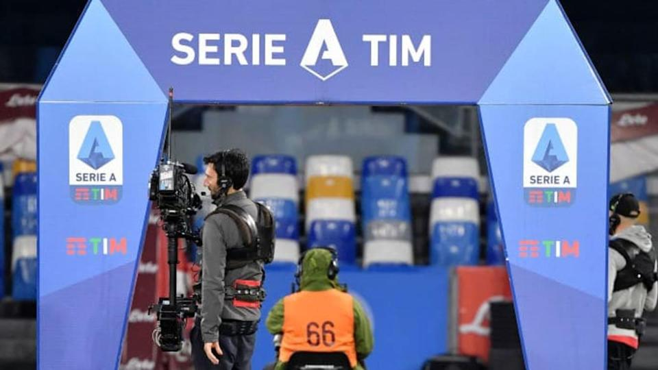 A cameraman stands in front of the Serie A setup during the... | Insidefoto/Getty Images