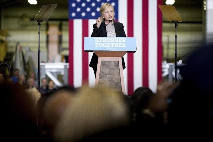 Hillary Clinton gives a speech on the economy after touring Futuramic Tool & Engineering in Warren, Mich., Thursday. (Photo: Andrew Harnik/AP)