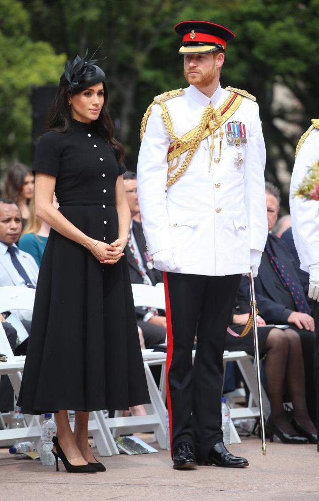 Prince Harry and Meghan Markle attend the opening of Anzac Memorial at Hyde Park in Sydney, Australia, on Saturday.