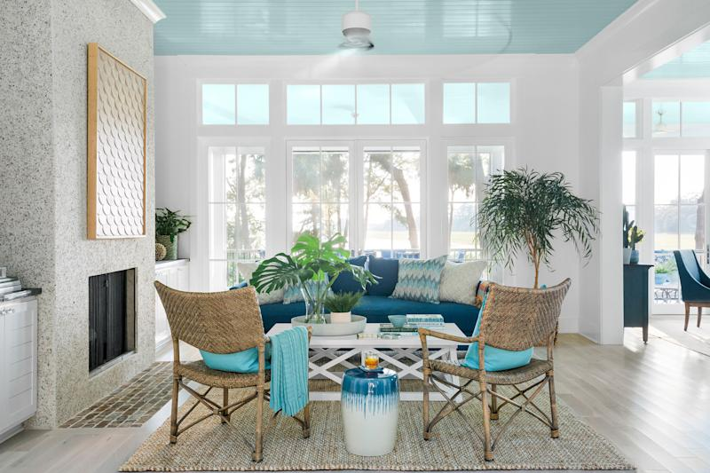The HGTV Dream Home 2020 great room is an expansive space with beautiful views of the backyard.