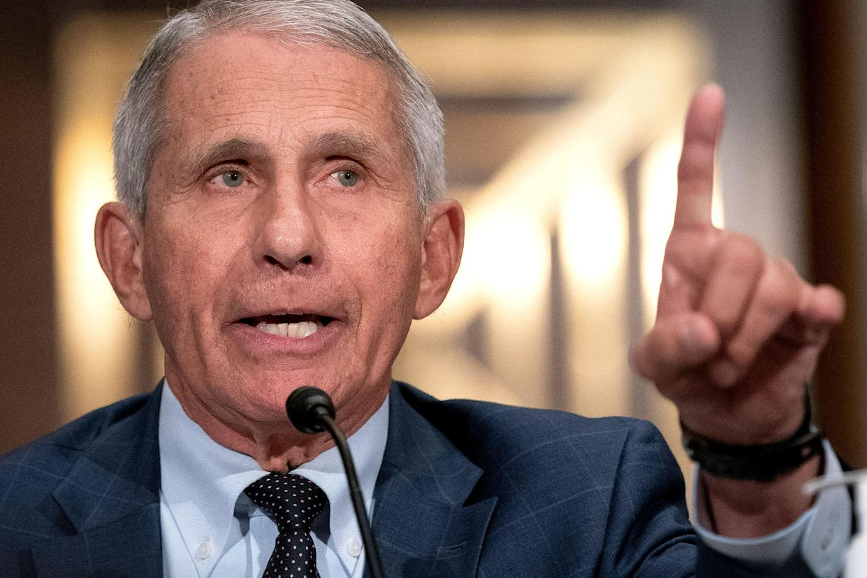 Dr. Anthony Fauci testifies at the Senate hearing Tuesday.