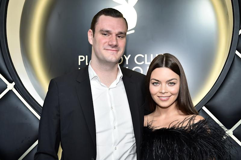 NEW YORK, NY - SEPTEMBER 12: Cooper Hefner and fiance Scarlett Byrne arrive at Playboy Club New York Grand Opening on September 12, 2018 in New York City. (Photo by Steven Ferdman/Getty Images)