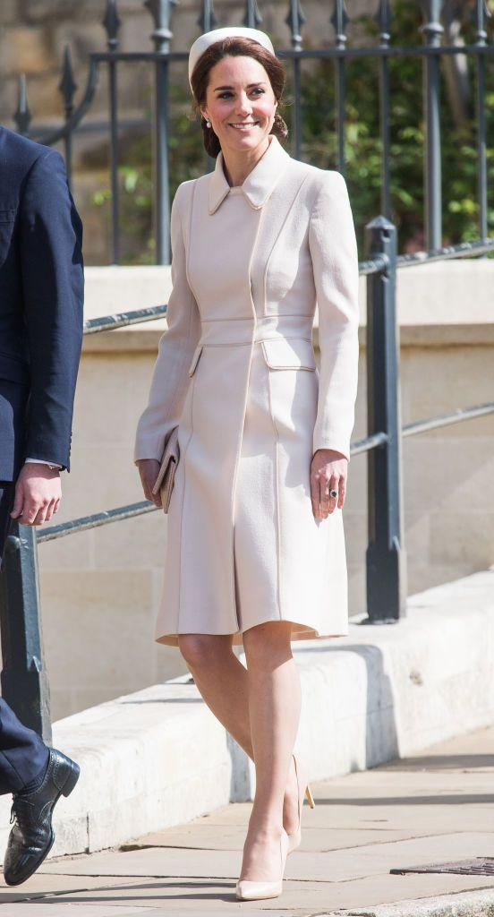 <p>The Duchess is ready for spring! Kate wore a cream Catherine Walker coat with a matching hat and pumps while attending an Easter Sunday mass in England with several other royals.</p>