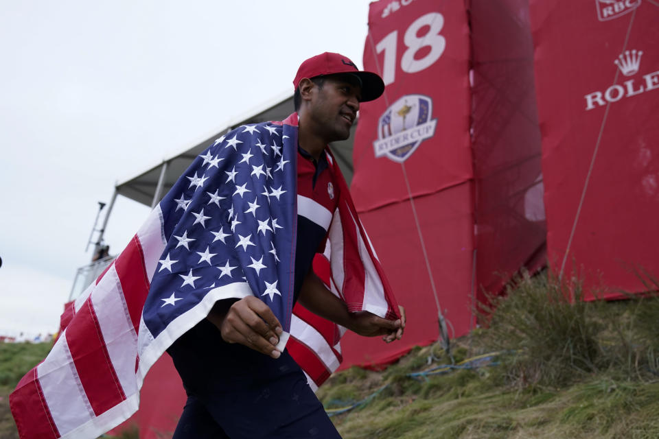 Team USA's Tony Finau celebrates after the Ryder Cup matches at the Whistling Straits Golf Course Sunday, Sept. 26, 2021, in Sheboygan, Wis. (AP Photo/Ashley Landis)