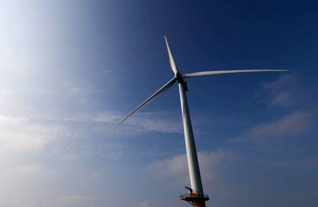 A power-generating windmill turbine is seen at the Eneco Luchterduinen offshore wind farm near Amsterdam