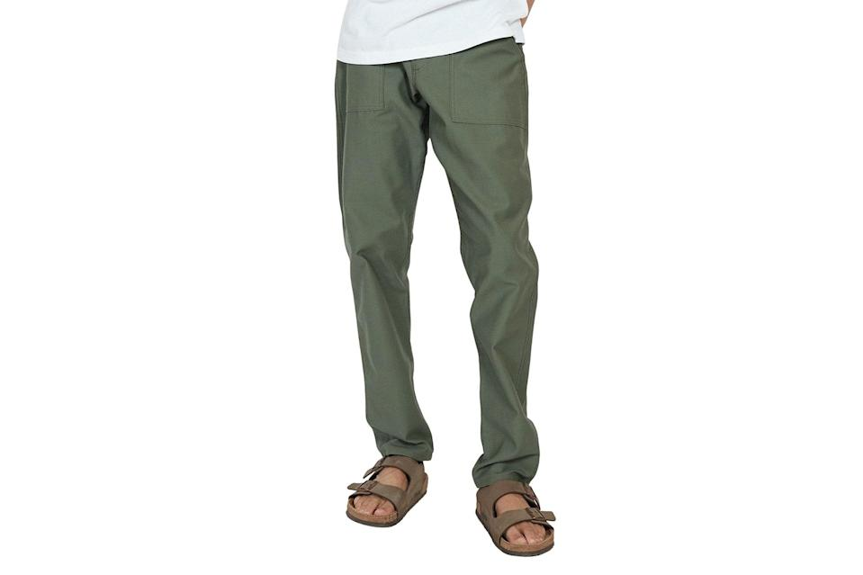 "$75, Verishop. <a href=""https://www.verishop.com/stan-ray/pants/1300-slim-fatigue-pant/p4364403965975?color=olive_sateen"" rel=""nofollow noopener"" target=""_blank"" data-ylk=""slk:Get it now!"" class=""link rapid-noclick-resp"">Get it now!</a>"