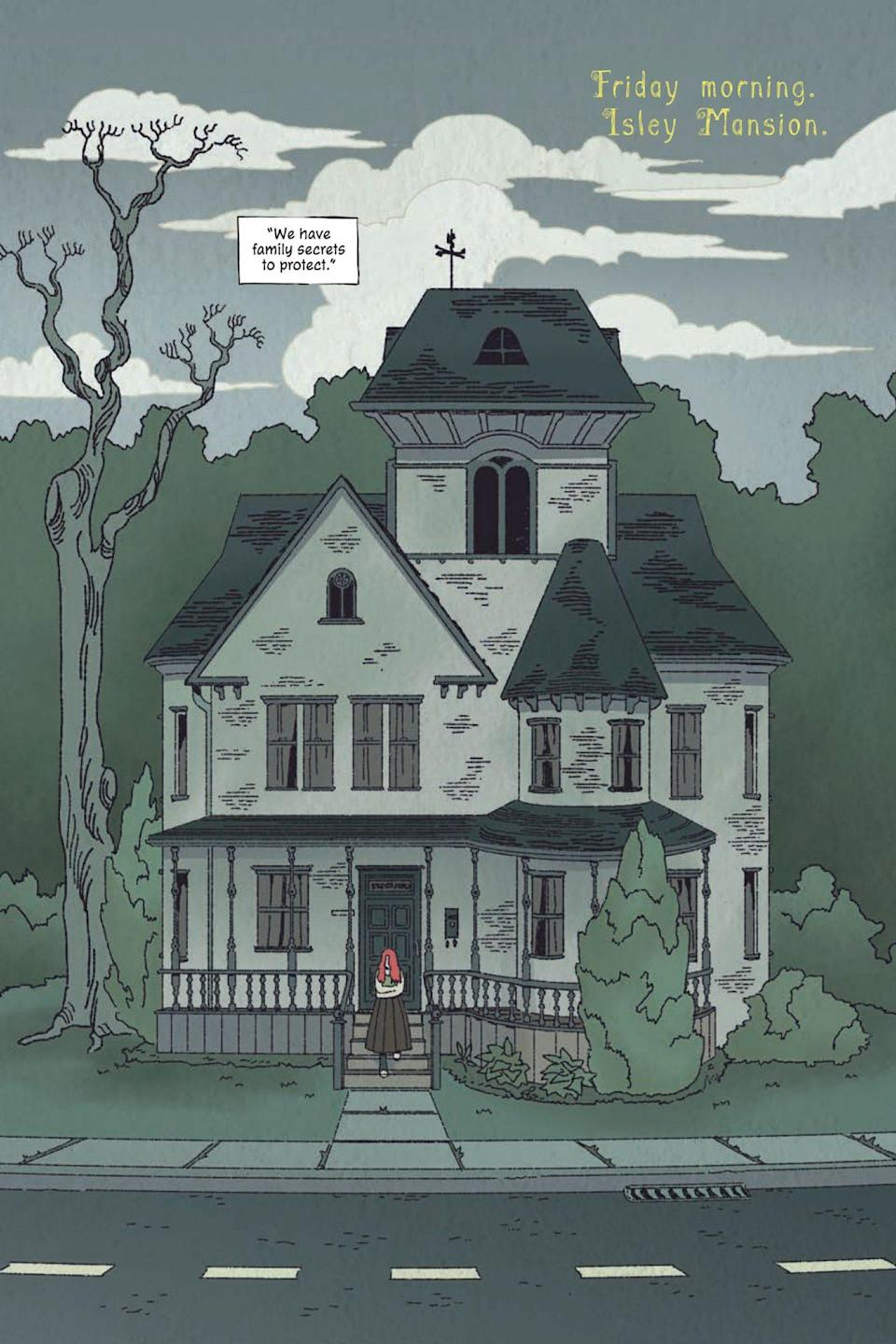 A page from Poison Ivy Thorns shows Ivy's very cool creepy house