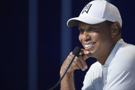 Aug 7, 2018; St. Louis, MO, USA; PGA golfer Tiger Woods addresses the media during a press conference following his practice round of the PGA Championship golf tournament at Bellerive Country Club. Mandatory Credit: John David Mercer-USA TODAY Sports