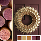 "<p>A lovely, deep shade of autumnal maroon pairs well with a warm gold color. The combination provides a regal, understated elegance to any home. </p><p><em><a href=""https://www.womansday.com/home/crafts-projects/how-to/a5356/thanksgiving-craft-paper-cone-gratitude-wreath-112583/"" rel=""nofollow noopener"" target=""_blank"" data-ylk=""slk:See more at Woman's Day »"" class=""link rapid-noclick-resp"">See more at Woman's Day »</a></em></p>"