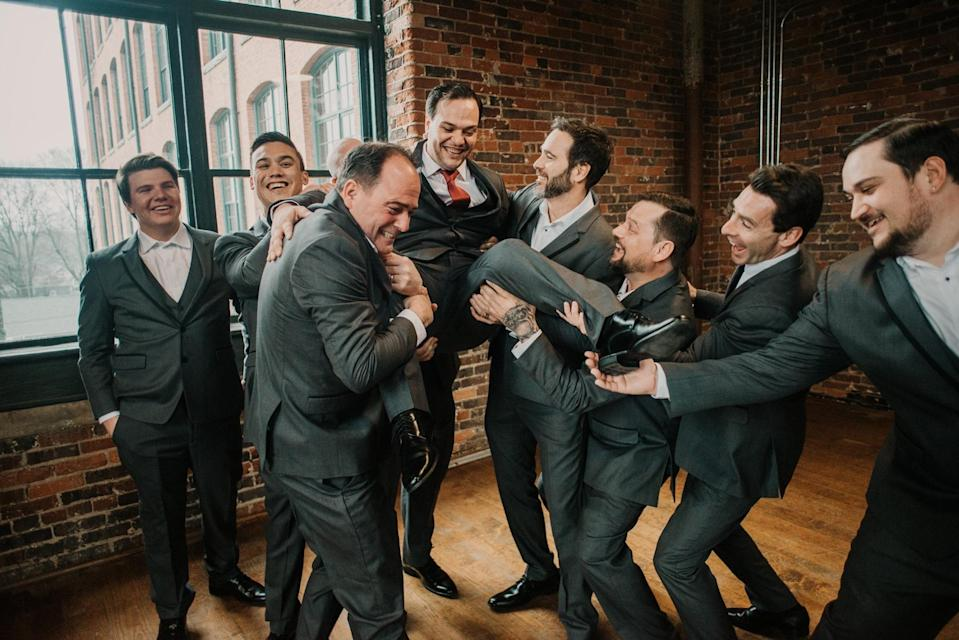 <strong><em>Jimmie Johnson and Simon Pagenaud were part of the wedding party for Jessie Johnson's wedding last year.</em></strong>