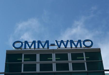 The headquarters of the WMO are pictured before a news conference in Geneva