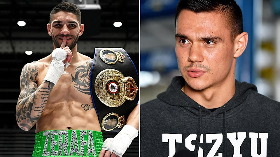 Seen on the right, Tim Tszyu with Michael Zerafa on the left after beating Anthony Mundine.