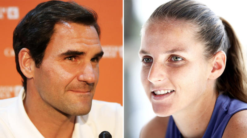 Karolina Pliskova (pictured right) smiling during an interview and Roger Federer (pictured left) answering questions.