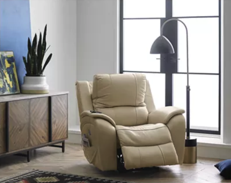Karuse Leather Power Recliner with Power Headrest and USB Power Outlet. (Photo: Macy's)